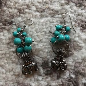 Jewelry - Elephant and turquoise earrings